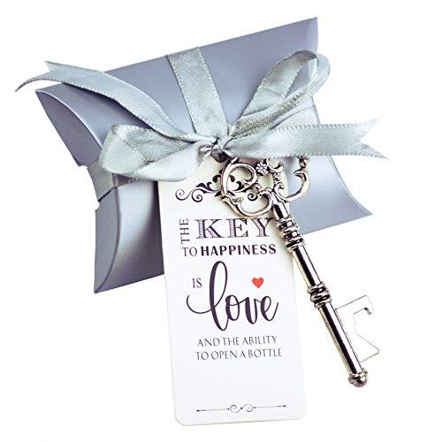 50pcs Wedding Favor Souvenir Gift Set Pillow Candy Box Vintage Skeleton Key Bottle Openers Escort Gift Card Thank You Tag French Ribbon(Antique Silver)