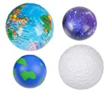 KanYouDIY World Stress Balls, Moon Replica & Galaxy Ball - Set of 4 Foam Squeezable, Stress Relief Toys for Kids, Adults, Classroom & Office