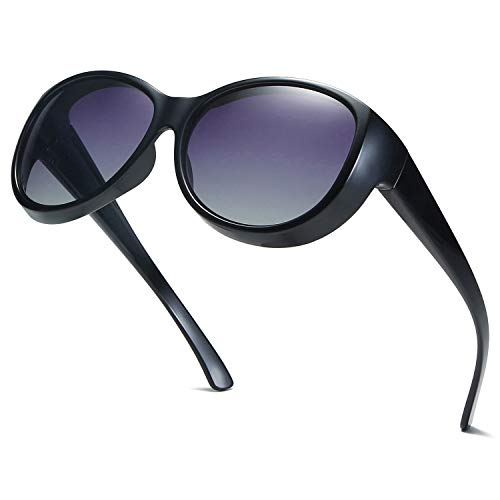 SOJOS Fitover Sunglasses for Women Polarized UV Protection SJ2108 with Black Frame/Gradient Grey Lens