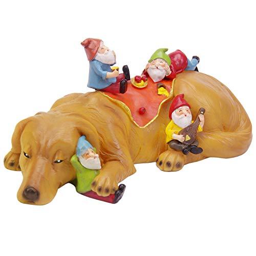 CCOQUS Gartenzwerg Figur Labrador Hund Statue, lustigster Zwerg Garten Dekor Skulptur (hellbraun gelb)