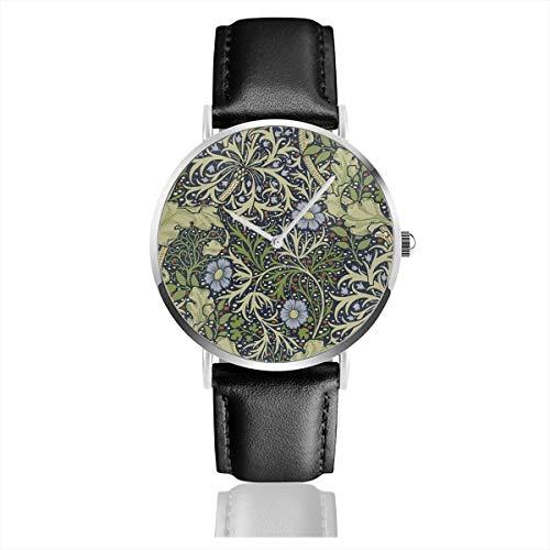 William Morris Art PrintsQuartz Reloj de cuarzo de acero inoxidable, clásico, casual, correa de cuero