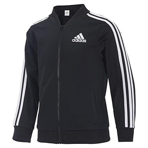 Adidas Girls' Big Tricot Bomber Track Jacket, Black, Large