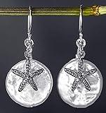 Seestern Ohrringe mit Perlmutt - Silber 925 Sterling - Hängend 2cm - Schöne Geschenkbox