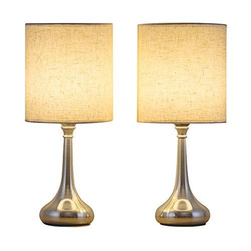 Nachttischlampen 2er Set Kleine Nachttischlampen Moderne Schreibtischlampen Set mit Flachs Stoff-Lampenschirm und Silber Metallfuß für Schlafzimmer, Wohnzimmer