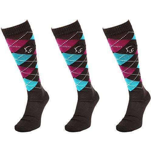 Comodo Calcetines de Montar para niños | Damas y Caballeros | Antideslizantes | 3 Pares | Algodón - Negro/Azul/Púrpura | Tamaño: 35-38