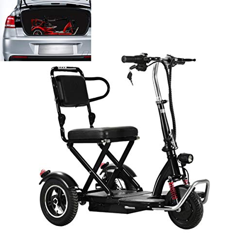 Qfzfei Elektro Dreirad Roller,Faltbarer Elektroscooter,3 Geschwindigkeitsanpassungen, Reversibel, 20 km/h, ältere Menschen, Behinderte, Roller (Color : Black, Size : 25KM)