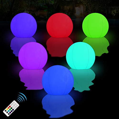 LOFTEK Floating Pool Lights Inflatable Waterproof IP68, 15inch 16 Color Changing LED Ball for Outdoor Pool Beach, Christmas Party Decorations,Garden Backyard, Patio Lawn, Mood Light - 2Pack