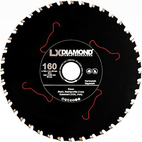 LXDIAMOND Hartmetall Sägeblatt 160mm x 20,0mm Z40 für Eisen Stahl Edelstahl V2A V4A Stahlprofile Bleche Stahl Kreissägeblatt passend für Kappsägen Handkreissägen Metall-Trennsägen Tischsägen 160 mm