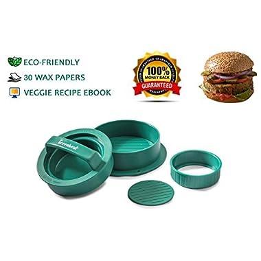 GreenBeat Stuffed Burger Press | 15 Vegetarian Recipes eBook | 30 Wax Papers - Hamburger Grill Accessories