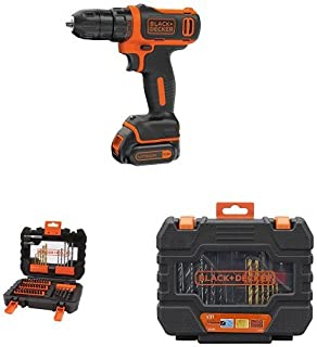 BLACK+DECKER 10.8 V Lithium-Ion Compact Cordless Drill Driver and A7232-XJ Drill Set, Black with A7233-XJ 31 Piece Drill S...