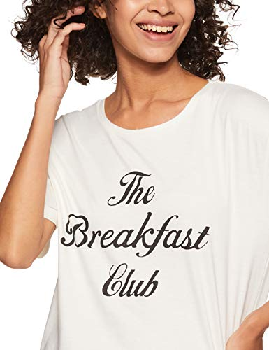 Amazon Brand - Eden & Ivy Women's Relaxed Pyjama Set (FWUTSTP01-GP-06_White & Black_L)