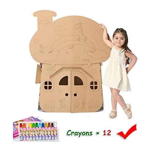 ROCK1ON Karton Kleurplaten Playhouse Cottage Kids Opvouwbare Play House Kit Gegolfd Kind DIY Hand Tekenen Schilderen en Verbeelding Training Speelgoed Krijt Inbegrepen - 23