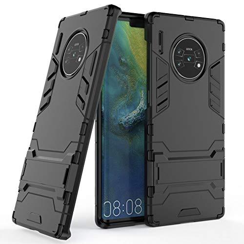 COOVY® Funda para Huawei Mate 30 Pro / 5G de plástico y Silicona TPU, extrafuerte, con protección contra Golpes, Funda con función Atril | Negro