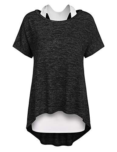 Parabler – Maglione oversize a maniche corte (2 pezzi) asimmetrico, camicetta casual grigio scuro S