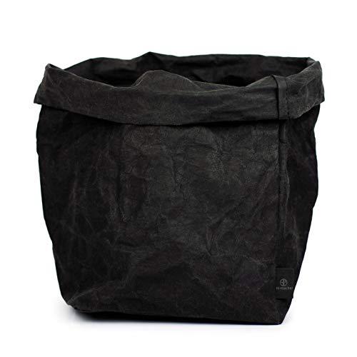 stil-macher Designer Krempelkorb Gr. XL - 21x21x35cm | Aufbewahrungskorb aus waschbarem Papier | Lederoptik VEGANES Leder | Deko-Box | Geschenkbox | Papierkorb | in Zwei tollen Farben … (Schwarz)