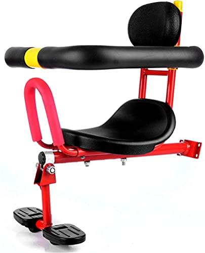 X&Y Asiento Delantero de la Bicicleta eléctrica para niños niños, Asiento de Esponja Portador de Seguridad con Cubierta de Cubierta, pasamanos y Pedal, Rojo
