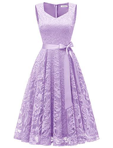 Gardenwed Damen Elegant Spitzenkleid Strech Herzform Abendkleid Cocktailkleider Partykleider Lavender S