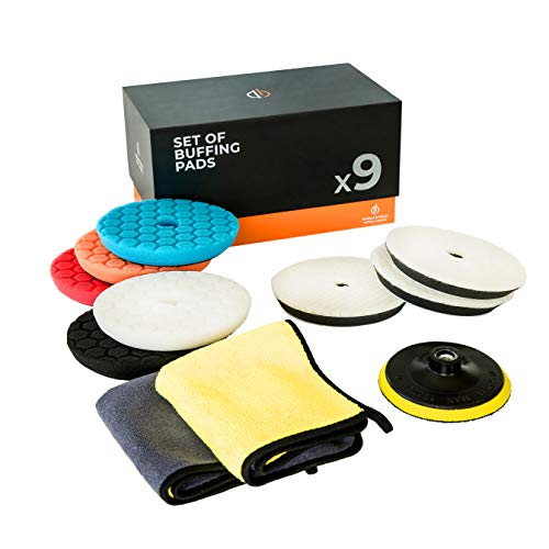 Amber & Hitch 6-inch Polishing Pad Kit - 5 Foam Buffing Pads, 3 Wool Buffer Pads, 2 Microfiber Towels, 1 Drill Adapter - Car Polisher Pads, Boat Waxing Pads Set for All Surfaces