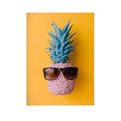 HNGFV Cuadros Decoracion PiñA con Gafas, PóSter De Estilo NóRdico, Arte De Pared Creativo, Pintura De Frutas En Color, Pintura Decorativa, EstéTica De ImpresióN 60x90cm x1 Sin Marco