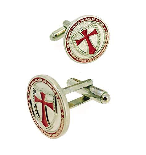Gemelos de Camisa Redondos con Escudo Cruz Templaria en Rojo