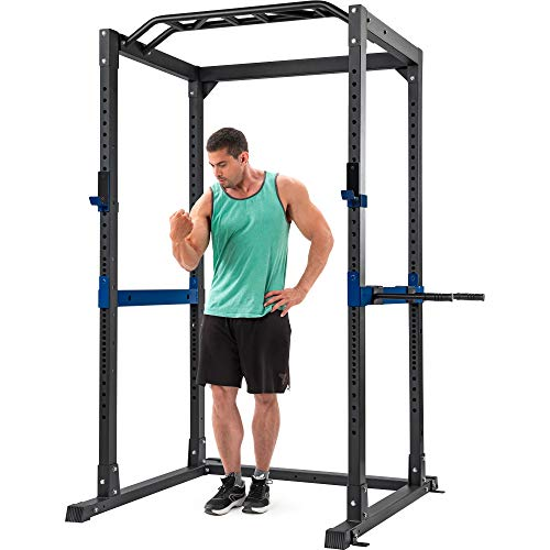 Merax Athletics Fitness Power Rack Olympic Squat Cage with LAT Pull Attachment (Gray)