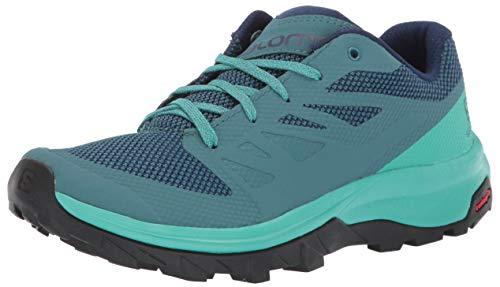 Salomon Women's OUTline W Hiking Shoe, Hydro./Atlantis/Medieval Blue, 9