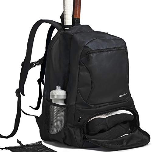 Athletico Premier Tennis Backpack - Tennis Bag Holds 2 Rackets in Padded Compartment | Separate Ventilated Shoe Compartment | Tennis Bags for Men or Women (Black)