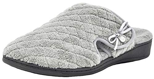 Vionic Women's Adilyn Mule Slipper-Comfortable Spa House Slippers That Include Three-Zone Comfort with Orthotic Insole Arch Support, Soft House Shoes for Ladies Light Grey 8 Medium US