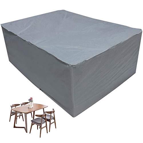 HSGAV Funda Protectora para Muebles de jardín Impermeable Funda Mesa Silla Sofás Mobiliario Exterior Mesa Cubierta Protector Mesa Jardín 420D Oxford, Gris,350×260×70cm