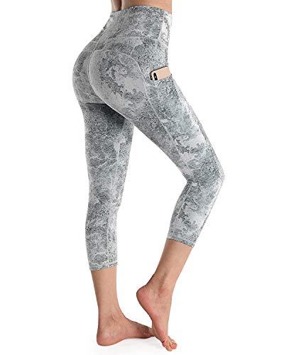 OUGES Womens High Waist Pockets Yoga Pants Running Workout Print Capris Leggings(Python A Capris-20 inch,S)