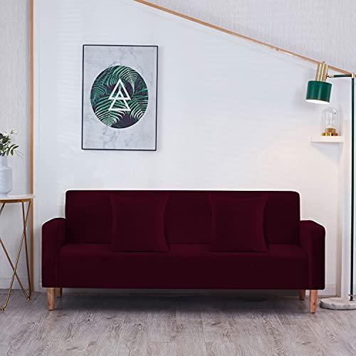 Trimming Shop Fundas de sofá elásticas de terciopelo, fundas elásticas para sofá con 2 fundas de almohada, protectores universales para sala de estar, fundas gruesas, antideslizantes, color rojo vino