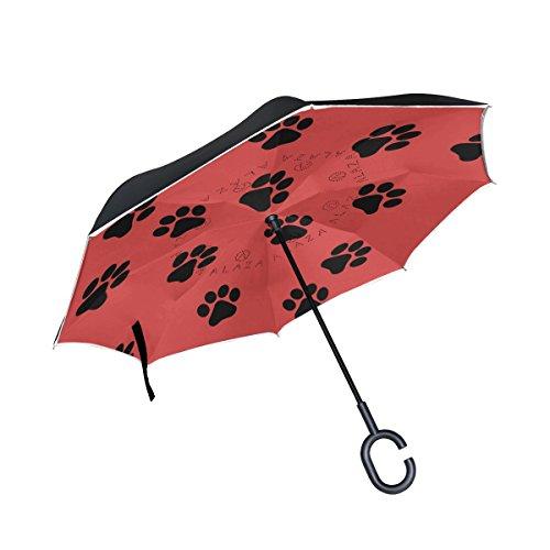 isaoa Große Schirm Regenschirm Winddicht Doppelschichtige seitenverkehrt Faltbarer Regenschirm für Auto Regen Außeneinsatz,C-förmigem Henkel Regenschirm mit Hundemotiv Rot Regenschirm