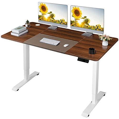 JUMMICO Höhenverstellbarer Schreibtisch Elektrischer Höhenverstellbarer Computertisch mit 140 x 72 cm Holz Tischplatte Stehschreibtisch Mit Speicher-Steuerung (Nussbaum)