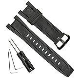 防水 天然樹脂 交換用腕時計ベルト カシオ GST-210 GST-W110 GST-W100 GST-S110 GST-S100 GST-B100 GST-S300 (Black Buckle)