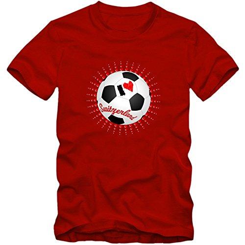 Schweiz WM 2018#6 T-Shirt | Fußball | Herren | Trikot | Schweizer pati | Nationalmannschaft, Farbe:Rot (Red L190);Größe:XXL