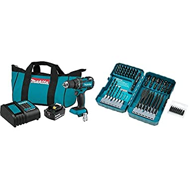 Makita XFD061 18V LXT Lithium-Ion Compact Brushless Cordless 1/2  Driver Drill Kit (3.0Ah) with T-01725 Contractor-Grade Bit Set, 70-Pc.