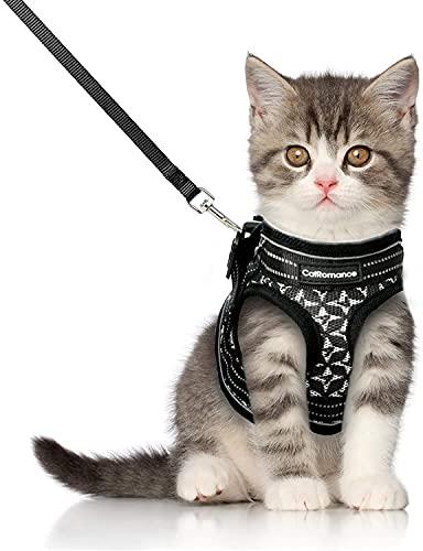 CatRomance Katzengeschirr mit Leine Verstellbar Geschirr für Katzen, Ausbruchsicher Welpengeschirr mit Reflektierenden Streifen, Brustgeschirr Katzen Weste für Kitten Welpen & kleine Hunde Schwarz-S