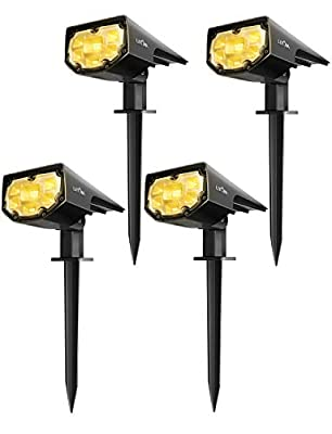 LITOM 12 LED Solar Landscape Spotlights, IP67 Waterproof Solar Powered Wall Lights 2-in-1 Wireless Outdoor Solar Landscaping Lights for Yard Garden Driveway Porch Walkway Pool Patio Cold White