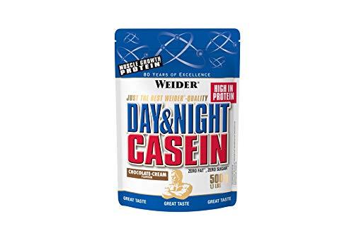 Weider Day & Night Casein Proteinpulver, Schoko-Sahne, Eiweiß für Muskelaufbau, Fitness Shake 500g