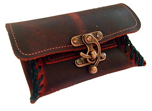 Tabaktasche Leder Farbe Rot-Bordo Tabakbeutel Drehertasche Verschluß Farbe Kupfer