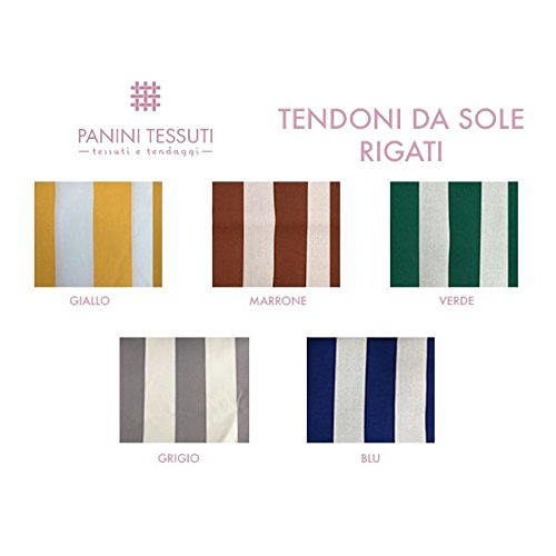 Panini Tessuti Tenda da Sole con Frangia e Anelli brevettati in Acrilico DRALON, Misure Disponibili 140 x 250 o 140 x 300, Ideale per terrazzi verande balconi Giardini