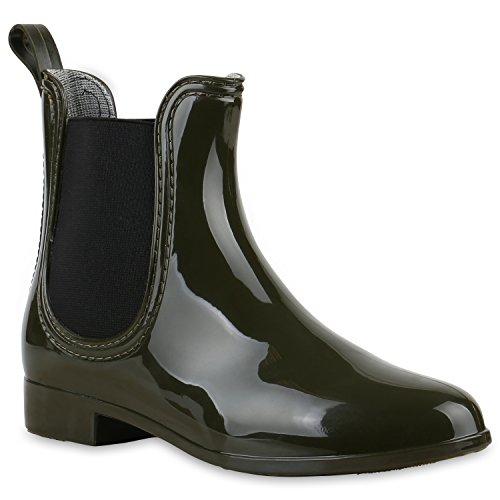 Bequeme Stiefeletten Damen Chelsea Boots Gummistiefel Lack Schuhe 125363 Dunkelgrün 36 Flandell