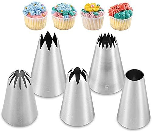Kit de boquillas para decoración de tartas, boquillas de acero inoxidable, boquillas para decoración de tartas, 5 unidades