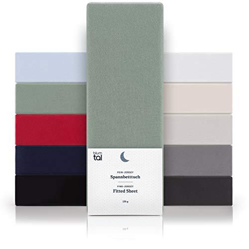 Blumtal Basics Baumwolle Spannbettlaken 100x200cm - 100% Baumwolle Bettlaken, bis 25cm Matratzenhöhe, Sommergrün