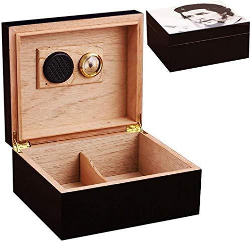 PANGPANGDEDIAN Caja de cigarros, Humidor de cigarros con higrómetro y humidificador, humidor de Escritorio con Divisor Ajustable Caja Decorativa