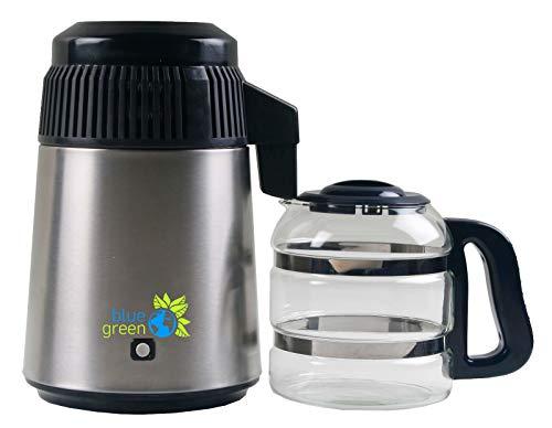 blue green Water Pro, Acero inoxidable/negro, Destilador de agua con Jarra de Vidrio, 4 litros de agua pura y destilada, No hay contacto con el plástico