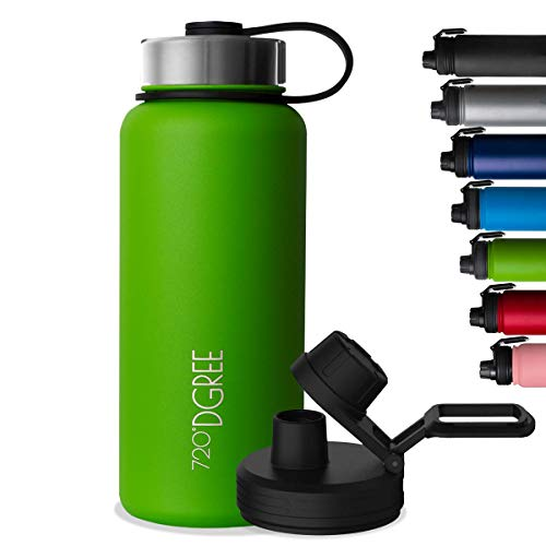 "720°DGREE Vaccum Insulated Water Bottle ""noLimit"" - 1200ml - Leakproof, BPA-Free, Thermo Stainless Steel Flask - Carbonated Drinks, Sports, Gym, School, Travel, Camping, Hiking, Outdoor +Sports-Cap"