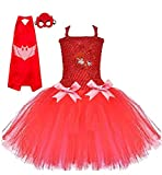 Chunks of Charm PJay Masked Owl Costume Tutu Dress from (4T) Red