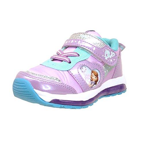 [ディズニー] 7104【光る靴】【ソフィア】 プリンセス 靴 ちいさなプリンセスソフィア 女の子 ピカピカ光る マジック スリッポン キッズスニーカー 子供靴 サイドがキラキラ光る靴! LED光る (17cm, パープル)