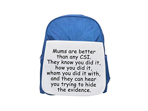 Mochila azul con la frase 'Joking about CSI' impresa, mochilas lindas, mochilas pequeñas, mochila negra linda, mochila negra fría, mochilas de moda, mochilas de moda grandes, mochilas de moda negras